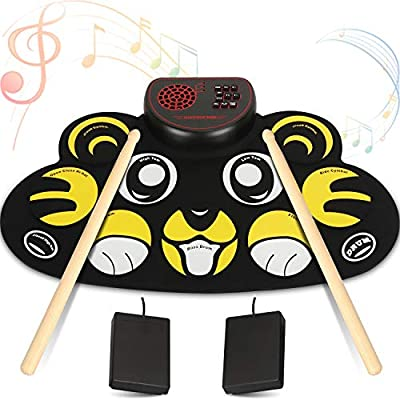 Amazon - Save 45%: YUOIOYU Electronic Drum Set – 9 Pad Flexible Roll Up Drum Kit Practice Pad wit…