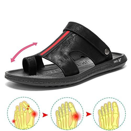 PSATO Men's Big Toe Bone Corrector Sandals Open Toe Orthopedic Flip Flop with Arch Support Pain Relief Hallux Valgus Bunion Symptoms - Non-Slip Flat Bottom Slippers,Black,44