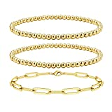 Reoxvo Gold Bracelets for Women,Stacking Beaded Ball Link Chain Bracelets (4mm+4mm+Link Chain)