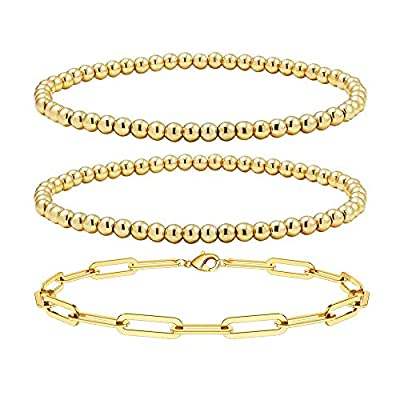Amazon - 55% Off on Gold Layered Bracelets for Women,18K Gold Plated Beaded Ball