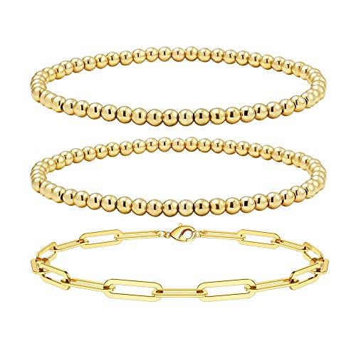 Reoxvo Gold Bracelets for Women,Gold Beaded Ball Layered Link Bracelets for Women