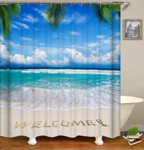 ChickwinDuschvorhangWasserdichtAnti-SchimmelShower Curtain Waschbar PolyesterBadezimmer Gardinenmit12DuschvorhangringefürBadezimmerDecor- Sommer 3D Meereswelle (Strand,90x180cm)