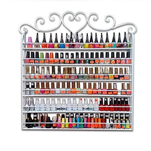 Estante para esmaltes de uñas, 6 niveles de metal, montado en la pared, organizador de esmaltes de uñas, soporte para 180 botellas de esmalte de uñas