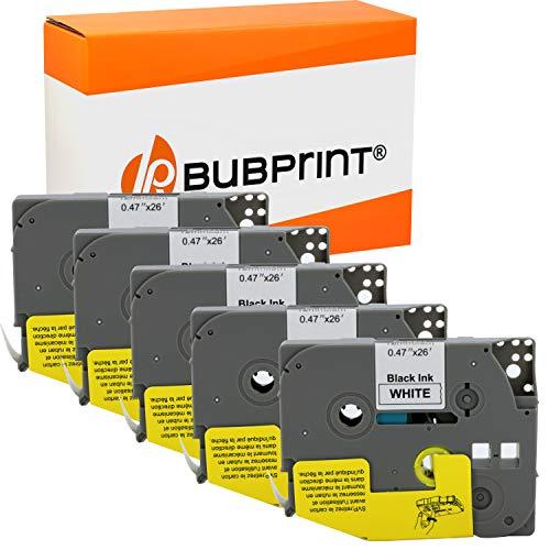 Bubprint kompatibles Schriftband als Ersatz für Brother TZE-231 TZE231 TZ231 12mm für H100lb H100r H101 H101c H105 PT-1010 Ptouch pt d400vp (Schwarz auf Weiß 5er Pack)