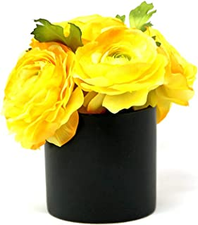 Serene Spaces Living Cylinder Matte Black Ceramic Vase Modern Black Cylinder Vase Adds a Sleek Look to Any Space, Use for Home Décor, Event Centerpieces and Much More, 4 H