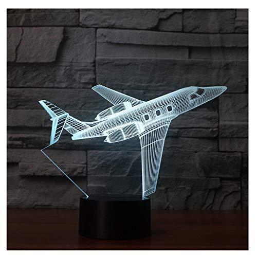 Illusion LED Veilleuse 3D Illusion optique d'avion LED, Mini-lampe de table à interrupteur tactile Télécommande pour cadeau d'anniversaire Lampe de sculpture d'art de décoration chambre de Noël, 7 cha