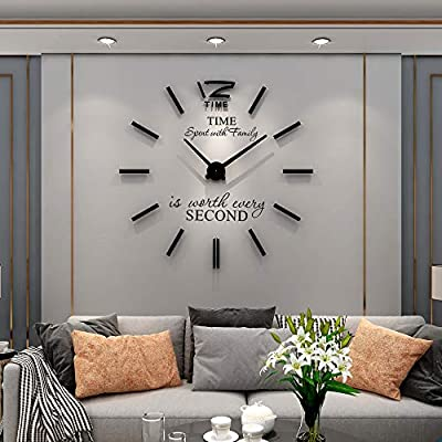 """YIJIDECOR 3D DIY Wall Clock for Living Room Decor Acrylic Mirror Sticker Large Wall Clocks Battery Operated Modern Home Decoration for Office Bedroom Classroom,Black 47"""""""