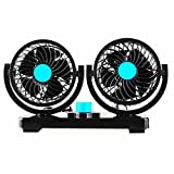 Willcomes 12V Dual Head Car Auto Cooling Air Fan 360 Degree Rotation Powerful Quiet 2 Speed Adjustable Strong Wind Auto Cooling Air Fan with Kids Safe Design