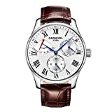 CARNIVAL Relojes para Hombre, Automatico Reloj Mecanico Impermeable Multifuncional Relojes de Pulsera Elegante Sencillo 8773G (Color : Leather Strap - Silver White)