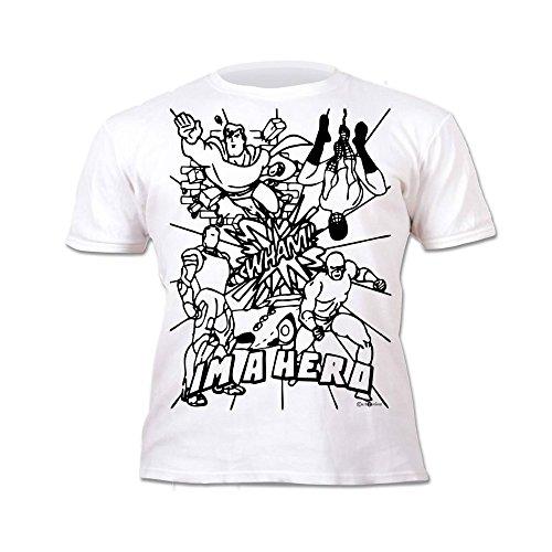 Splat Planet Camiseta Niños Chicos Superhéroes. con Imagen para Pintar y Colorear....