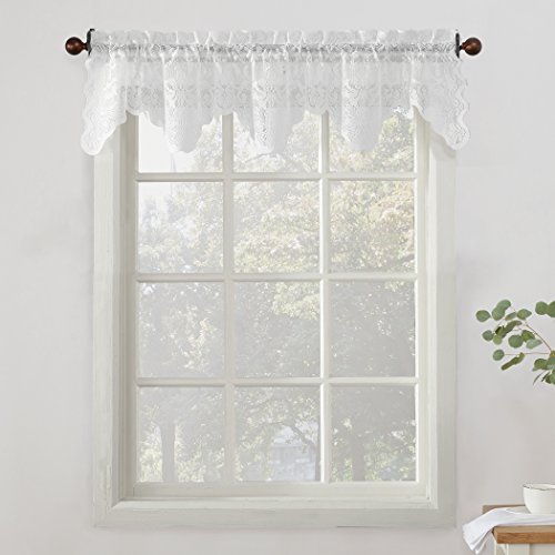 """No. 918 48922 Alison Sheer Lace Kitchen Curtain Valance, 58"""" x 14"""", White"""