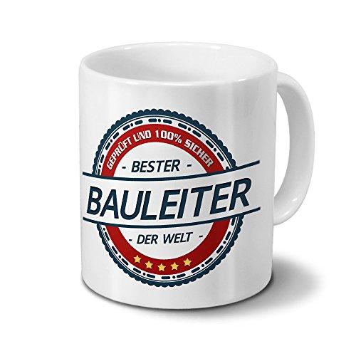 printplanet Tasse mit Beruf Bauleiter - Motiv Berufe - Kaffeebecher, Mug, Becher, Kaffeetasse - Farbe Weiß