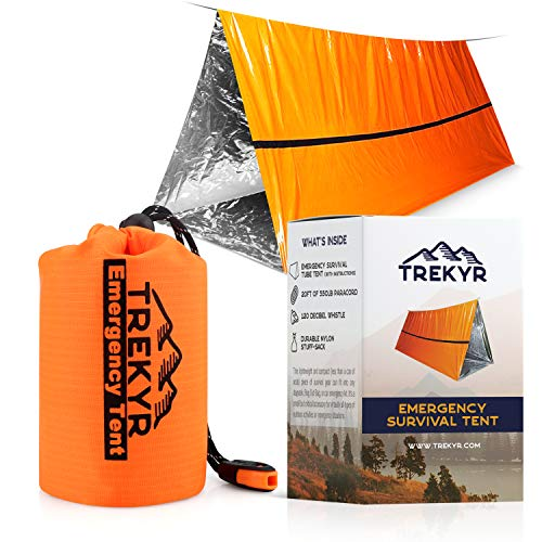 TREKYR Emergency Tent - Survival Tent 2 Person Waterproof for Hiking Survival Kit - SurvivalShelter for Your Bug Out Bag or Disaster Kit -Tube Tent Has Instructions +Emergency Whistle + Paracord