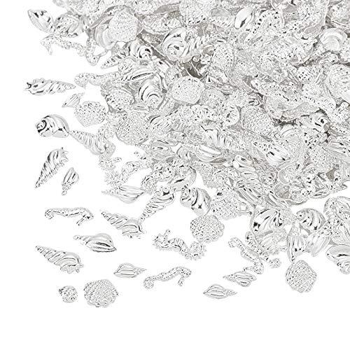 OLYCRAFT 2400 Stück Harz Füllstoff Thema des Ozeans Harzfüller Legierung Epoxidharz Liefert UV-Harzfüllzubehör Silber Für Die Herstellung von Harzschmuck - 8 Formen