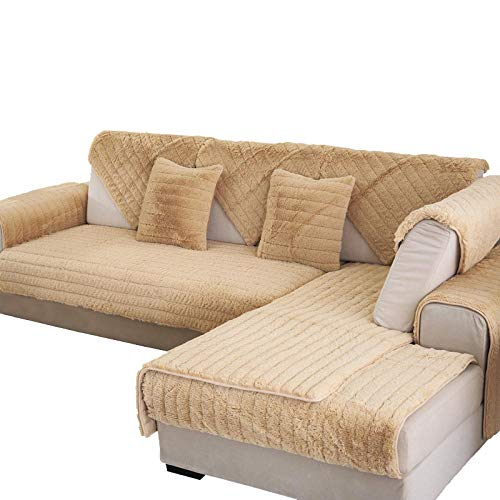 YUTJK Funda Universal para Sofá Antideslizante,Funda para Toalla de Sofá,Protector para Muebles,Acolchado de Felpa,Cojines de sofá Suaves de Felpa Gruesa,para sofás de Cuero,Beige