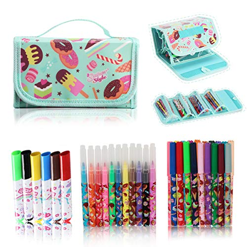 SuperStyle Washable Markers for Kids with Holder, Arts and Crafts Kids Paint Classroom Decorations and Supplies Color Markers Pencil Case For Girls Gift for Kids Inspiration Art Case Color Set(Green)