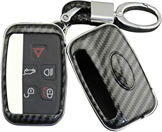 BJGHUIK Key case Auto Car Carbon Fiber Hard Remoto Control Key Fob Shell for Jaguar Land Rover Key Case Cover Accessories