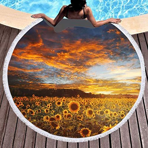 GermYan Sunflower Field Sunny Beach Toalla de baño Manta de mar Redonda Alfombra de Yoga Junto al mar Estera de Picnic