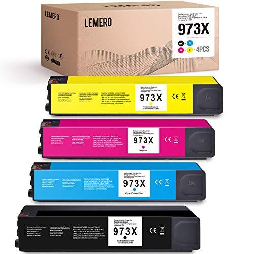 LEMERO 4 Kompatibel Druckpatronen für HP 973X für Hp PageWide Pro 452dn 452dw 477dn 477dw MFP 552dw 577dw 577z Managed MFP P57750dw P55250dw (Schwarz Cyan Magenta Gelb)