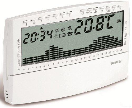 Cronotermostato digitale da parete settimanale UP e DOWN Compact Easy Perry 1CRCR018BS Bianco Preprogrammato in fabbrica modificabile da utente Programmazione 60 minuti Display LCD 4 pollici 1/2 Alimentazione 3V con 2 pile alcaline 1.5V