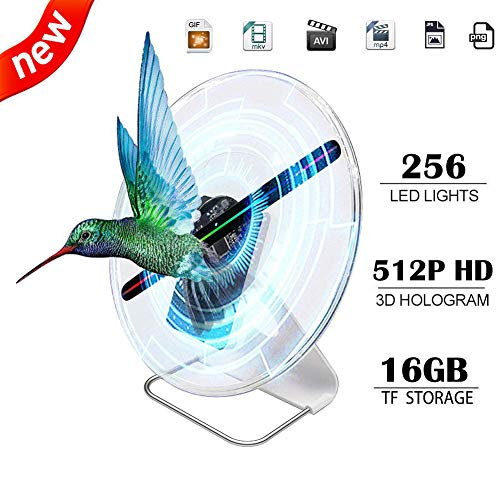 iOneSky 3D Hologram Fan Display Projector Protable Advertising Digital Holographic Fan Display Photo 512P HD Video 30cm Advertising Projector Fan for Shops Office Business Home Entertainment 12inch