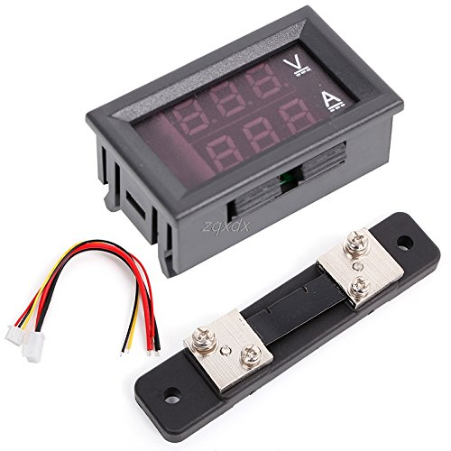 New SAUJNN 0-100V/50A Red Blue Digital Voltmeter Ammeter 2in1 DC Volt Amp Meter W/Shunt Z10 Drop Shi...