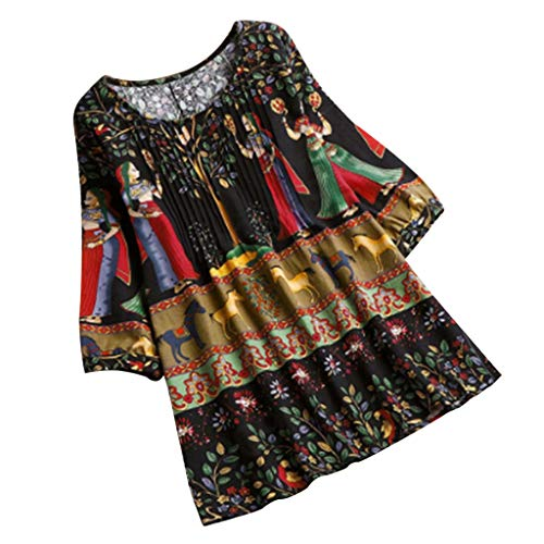 iHENGH Women Casual Plus Size Loose Cotton Linen Style Long Tops Shirt Blouse(Schwarz, XL)