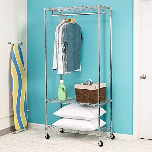 Honey-Can-Do GAR-02079 3-Shelf Deluxe Garment Rack, Chrome