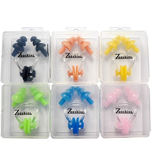 Zooshine 6 Sets Waterproof Silicone Swimming Earplugs Nose Clip Plugs,Ear & Nose Protector Swimming Sets Box Package