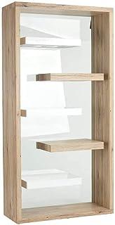 Bibliothèque Étagère de Rangement avec 5 Niveaux en bois et verre trempé pour Salon, Chambre, Cuisine, Bureau, Rétro