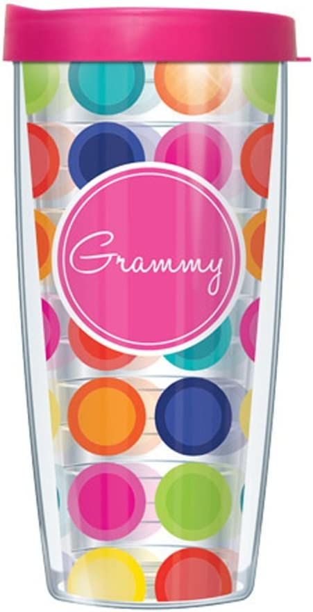 Amazon Com Signature Tumblers Grammy Hot Pink Insignia Wrap On Happy Circles 16 Ounce Double Walled Travel Tumbler Mug With Hot Pink Easy Sip Lid Kitchen Dining