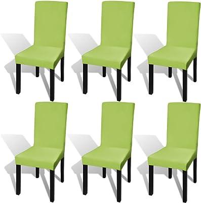binzhoueushopping Set de 6 Piezas Funda elástica para sillas Verde ...