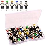 Kiligen 24個 7mm1A 250V AC 2ピンSPST 6色(赤、黄、青、緑、黒、白)ノーマルオープンミニ瞬間プッシュボタン 回路の制御に使用
