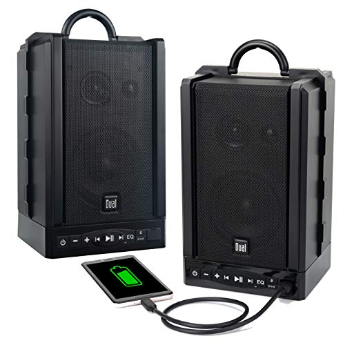 Dual Electronics LU48BTS Wireless Portable Bluetooth Speakers | TruWireless Stereo | 100ft Wireless Range | Loud & Deep Rich Bass | 12 Hour Playtime | IPX4 | No Wires Needed | Sold in Pairs