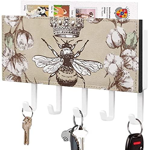 Soporte para llaves para gancho de llaves montado en la pared, corona de rosas blancas florales, abeja con corona retro, soporte para correo de entrada a la pared, organizador de llaves decorativo co