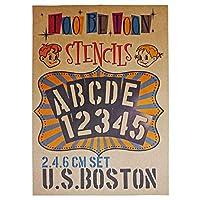 ステンシルシート アルファベット大文字&数字セット U.S.BOSTON cm (2,4,6cm)