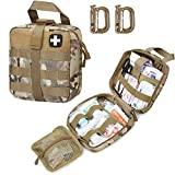 Livans Tactical First Aid Pouch, Molle EMT Pouches Rip-Away Military IFAK Medical Bag Outdoor Emergency Survival Kit Quick Release Design Include Red Cross Patch (CP Camo)