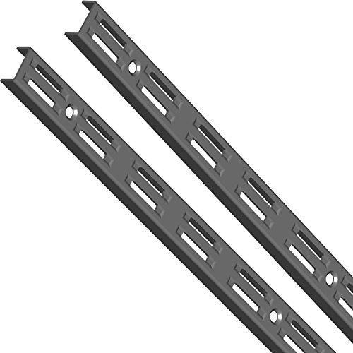 Element System 10001-00011 Wandschiene 2-reihig / 2 Stück / 4 Abmessungen / 3 Farben/L = 100 cm/schwarz/für Regalsystem/Regalträger/Wandregal