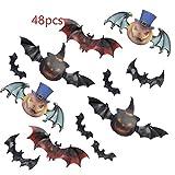 48 pezzi di adesivi murali pipistrello Halloween: pipistrello grande 16,5 cm x 6 cm, pipistrello zucca 13 cm x 5,5 cm, pipistrello 9 cm x 6 cm, pipistrello zucca 10,5 cm x 4,8 cm, pipistrello piccolo 7,5 cm x 4 cm (incluso piccolo nastro biadesivo re...