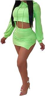 Candiyer 女性fahionフード分割セクシーロングスリーブ2個ミニスカートセット