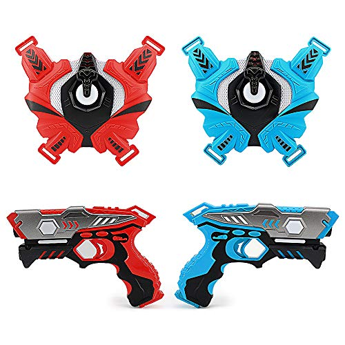 LUKAT Laser Tag Gun Set Toys for 6 7 8 9 10+ Years Old Boys and Girls, Infrared Laser Guns with Vests of 2, Battle Gun Toy Gift for Kids Perfect for Indoor & Outdoor Family Group Activity