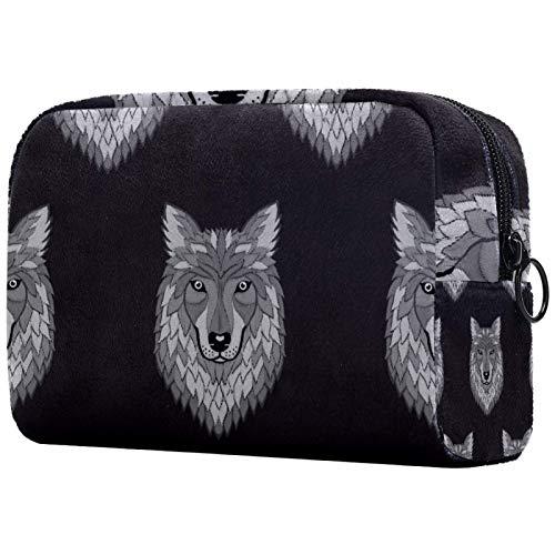 Bolsa de maquillaje para mujer, bolsa organizadora de cosméticos, bolsa con cremallera, diseño de lobo hipster