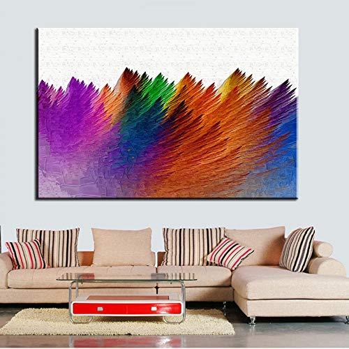SDFSD Kreative farbige abstrakte gebürstete Effektmuster Wandkunst Malerei Leinwand drucken Stillleben Bild für Wohnzimmer Bunte Feder Home Decor 55x75cm
