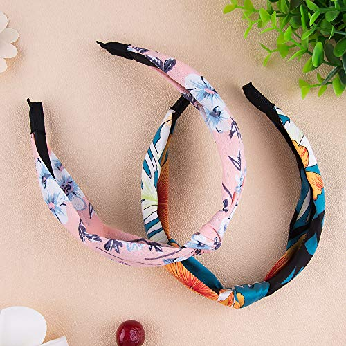 SIQUK 15 Pieces Headband with Twist Knot Wide Headbands Turban for Women and Girls, Multicoloured, M