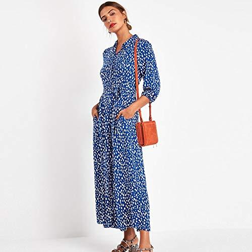 NVDKHXG Vrouwen elegante lange gedrukte jurken driekwart mouwen Boheemse maxi jurk kraagvorm overhemdjurk Vestidos Mujer