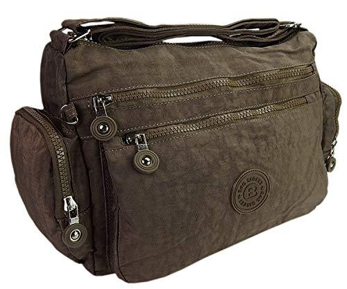 ekavale® Moderne damen Schultertasche für Shopper Freizeit Mittelgroß Tasche aus Nylon für Frauen (Braun)