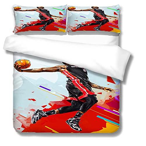 BRAWCKY Juego de ropa de cama de 3 piezas, juego de funda de edredón de 3 piezas, diseño de jugador de baloncesto saltando, fibra superfina, suave y cómoda, el mejor regalo de cumpleaños