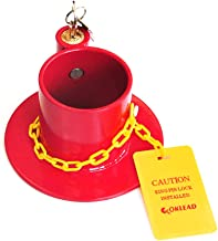 OKLEAD Heavy Duty Steel Kingpin Lock 5Th Wheel Trailer Lock King Pin Red Lock with Bright Yellow Caution Tag