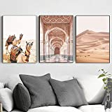 Marokko Tür Kamel Wüste Landschaft Malerei 3 Stück