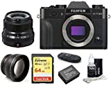 FUJIFILM X-T30 Mirrorless Digital Camera Body (Black) + XF 23mm f/2 R WR Lens (Black) Bundle, Includes: SanDisk 64GB Extreme SDXC Memory Card, Card Reader, Memory Card Wallet and Lens Cleaning Kit